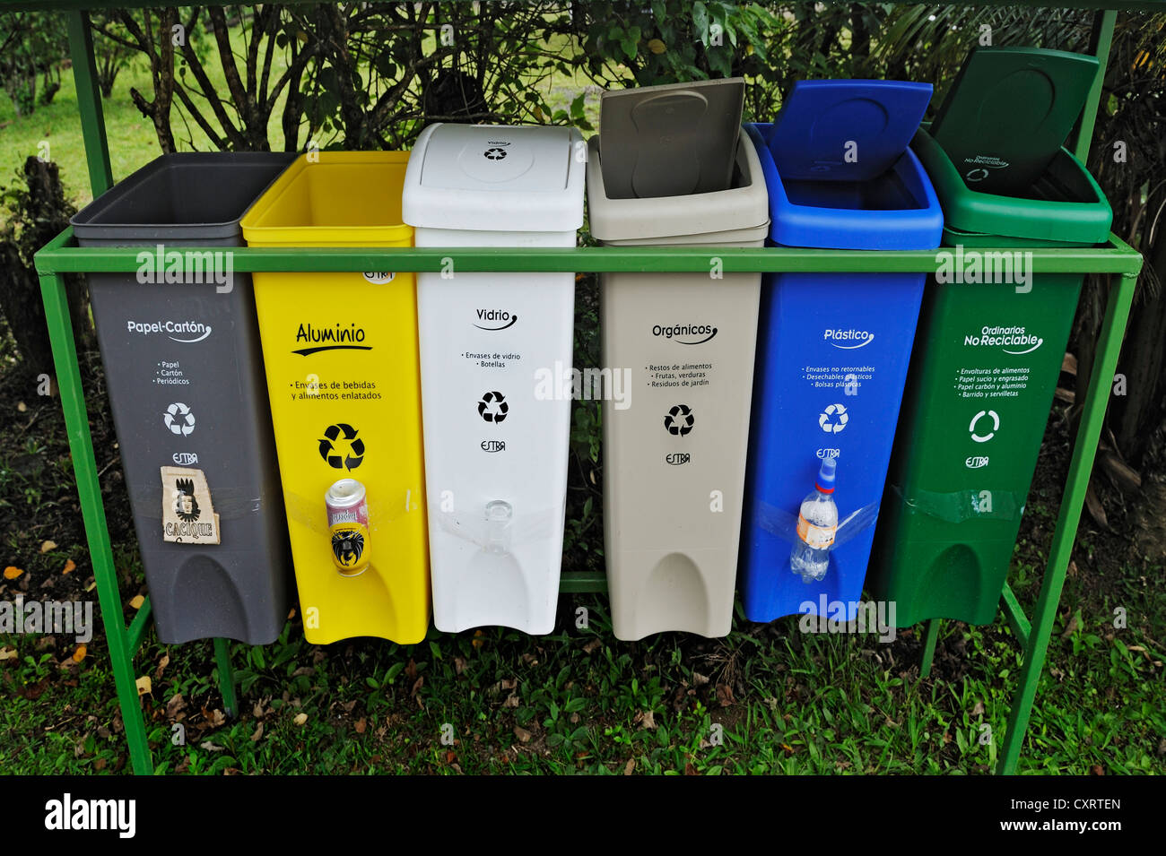 Exemplary waste separation, Monteverde, Alajuela province, Costa Rica, Central America - Stock Image
