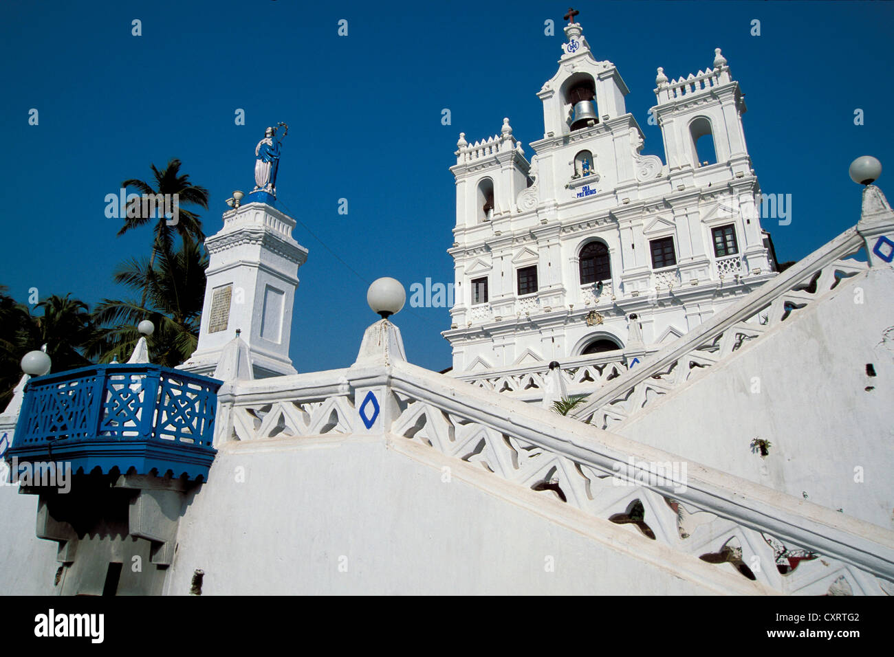 Panjim, whitewashed church, Our Lady of Immaculate Conception, Goa, South India, India, Asia - Stock Image