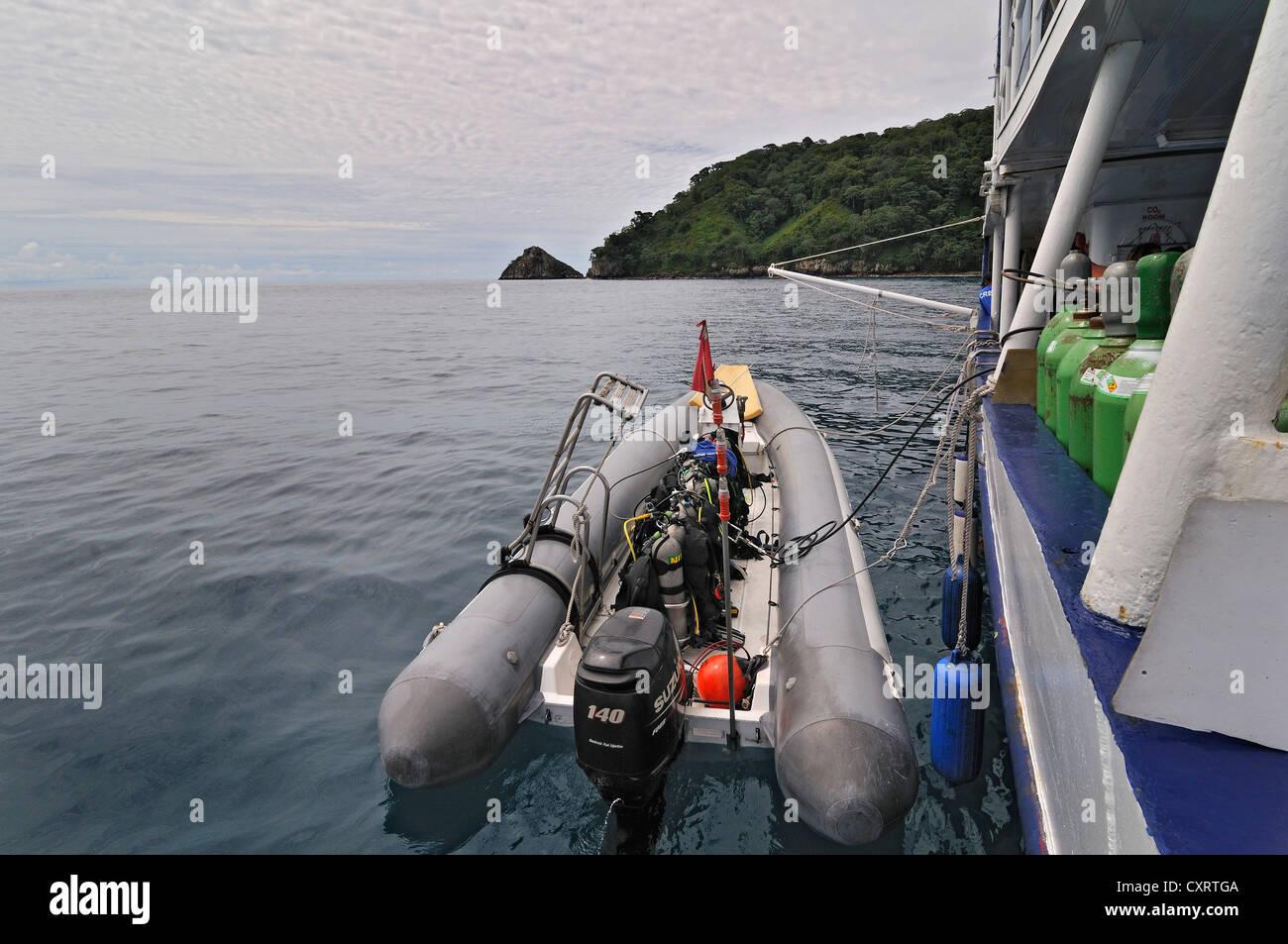 Rubber raft with compressed air tanks, Okeanoss Aggressor ship, Cocos Island, Costa Rica, Central America - Stock Image