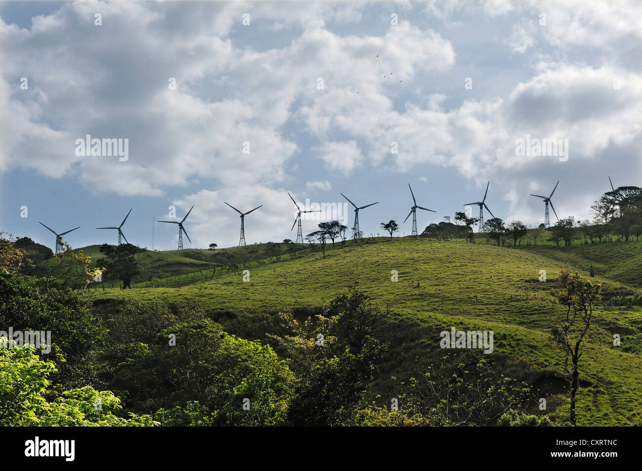 Wind turbines at Lake Arenal, western end, Alajuela province, Costa Rica, Central America - Stock Image