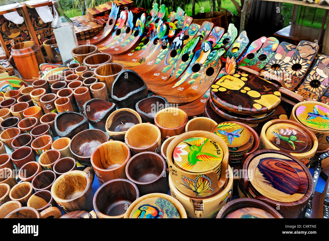 Sale Of Souvenirs Wooden Bowls And Bottle Holders Lake
