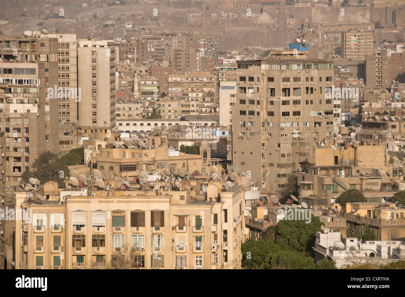 View of downtown Cairo from Zamalek - Stock Image