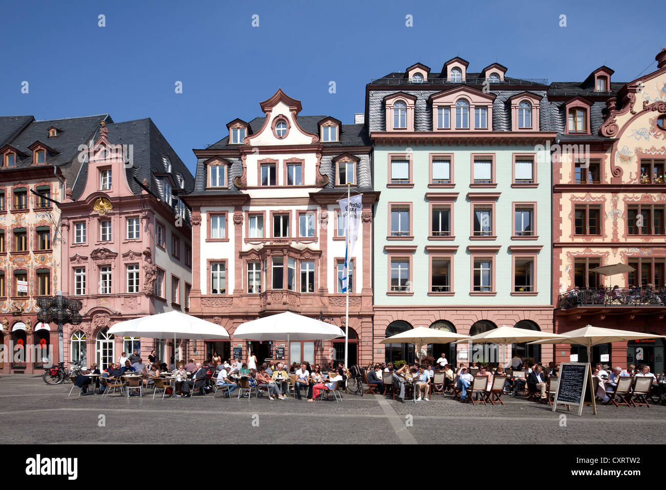 Restored town houses on Markt square, commercial buildings, Mainz, Rhineland-Palatinate, PublicGround - Stock Image