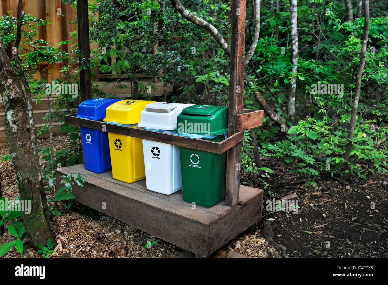 Exemplary waste separation, hot springs near the Hacienda Guachipelin, near Liberia, Guanacaste province, Costa - Stock Image