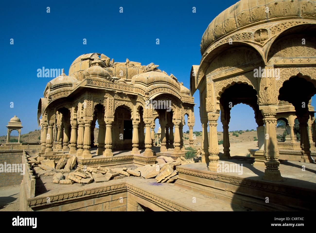 Cenotaphs, tombs of the rulers of Jaisalmer, Jaisalmer, Rajasthan, India, Asia - Stock Image