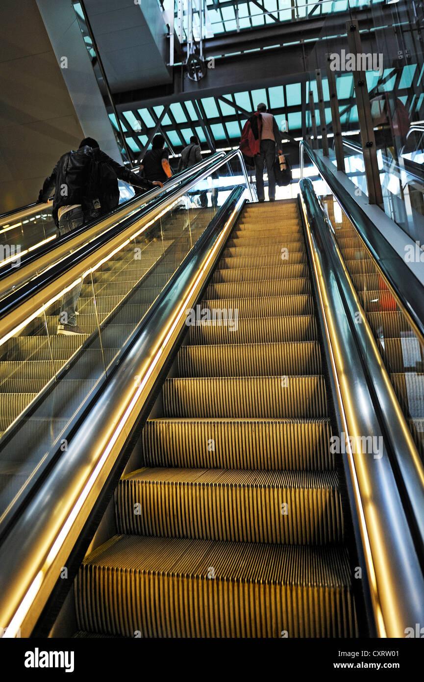 Madrid Airport, escalator, Spain, Europe - Stock Image