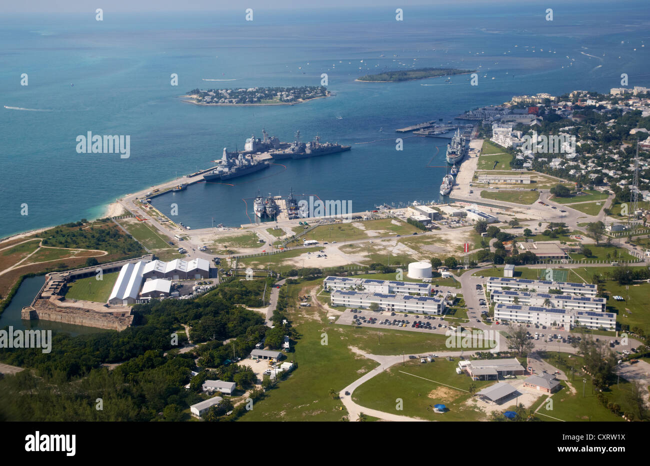 aerial view of nas key west naval air station base truman annex florida keys usa - Stock Image