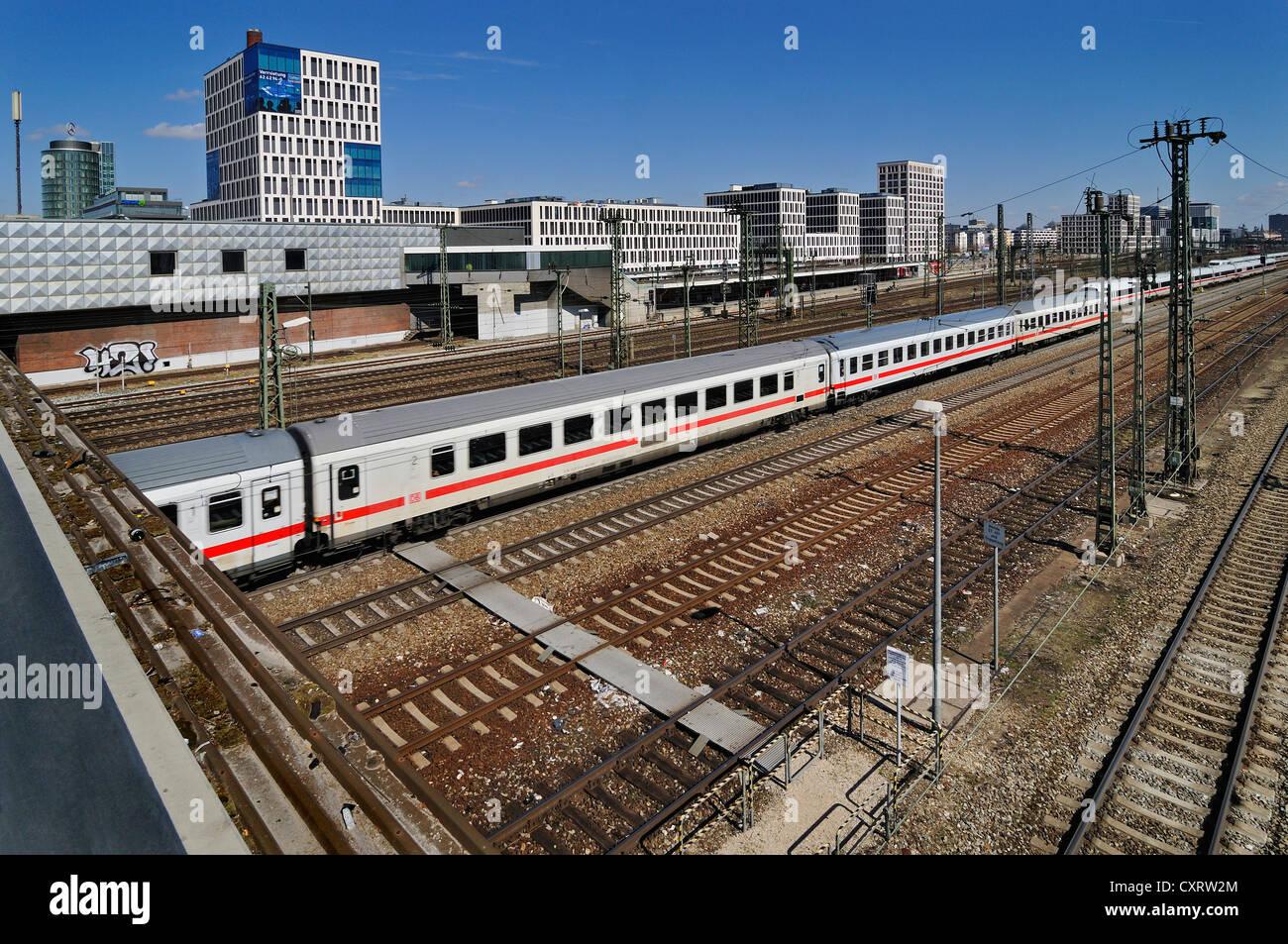 Trackage or railway tracks near Donnersbergerbruecke bridge, Munich, Bavaria - Stock Image