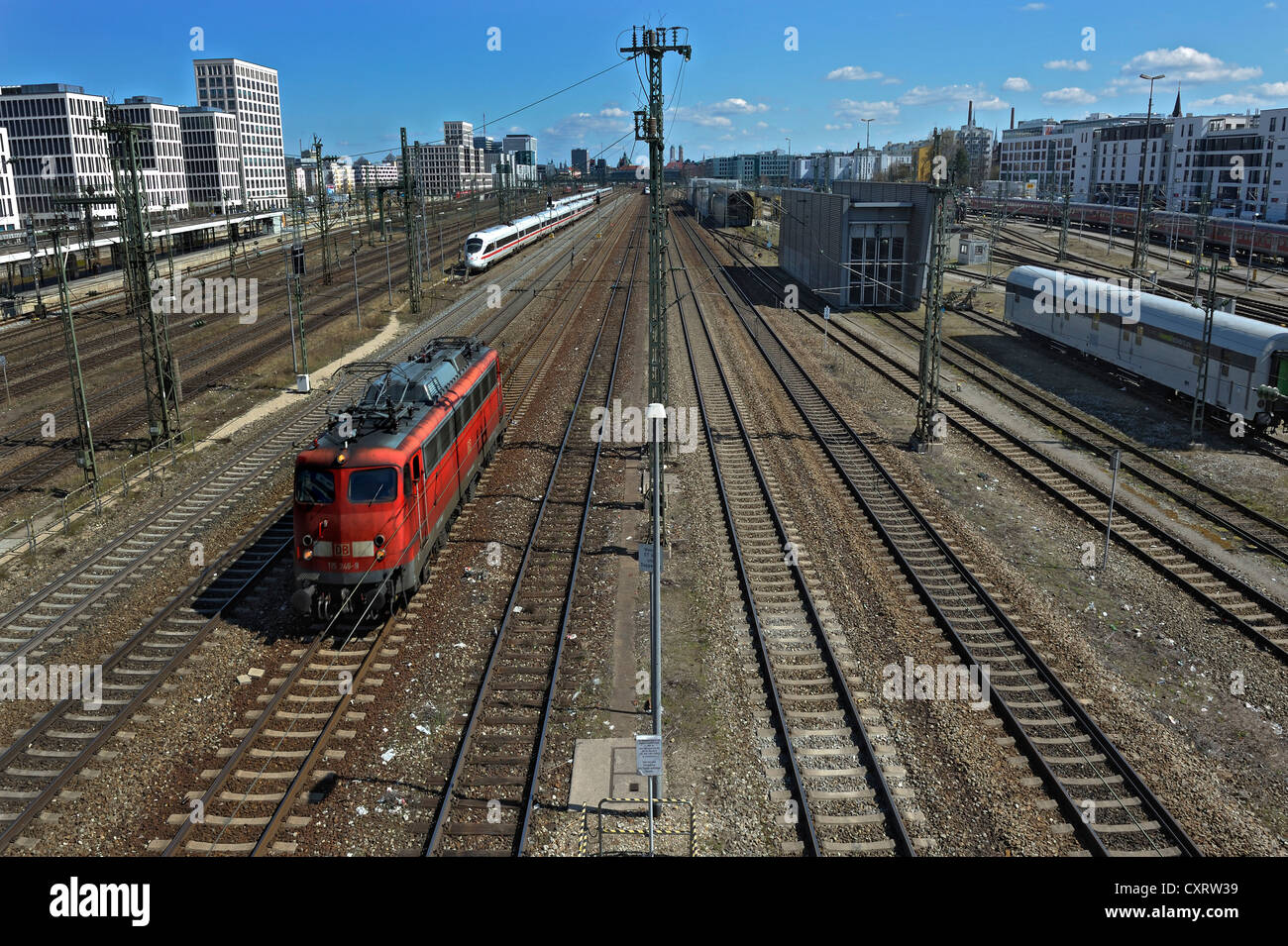 Trackage or railway tracks near Donnersbergerbruecke bridge, Munich, Bavaria, Germany, Europe - Stock Image