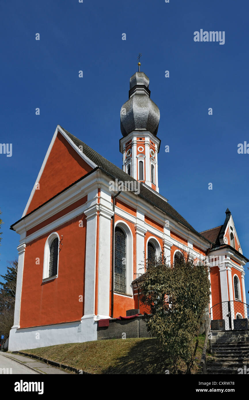 Church of Hechenwang with a shingle roof onion dome, Bavaria, Germany, Europe - Stock Image