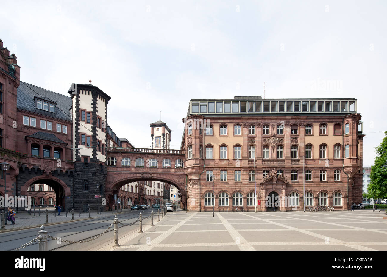 City Hall, extension of the Roemer building, north building with the Bridge of Sighs, Frankfurt am Main, Hesse, - Stock Image