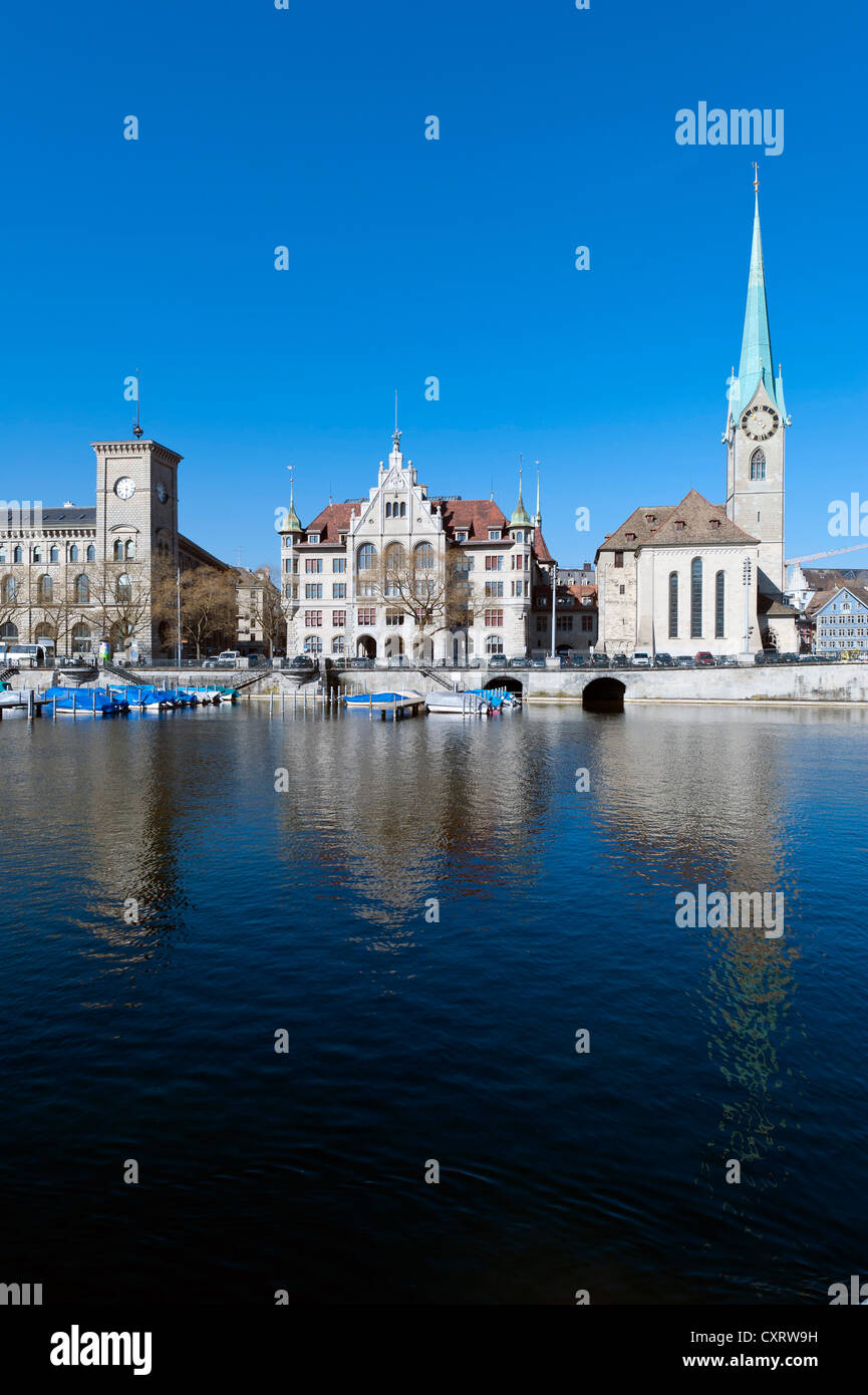 Historic district of Zurich on the Limmat River with St. Peterskirche church, Limmatquai quay, Zurich, Switzerland, - Stock Image