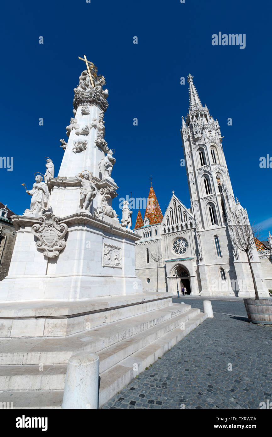 Holy Trinity Column, a Baroque plague column with statues of saints, 14 meters high, commemorating the plague epidemic - Stock Image