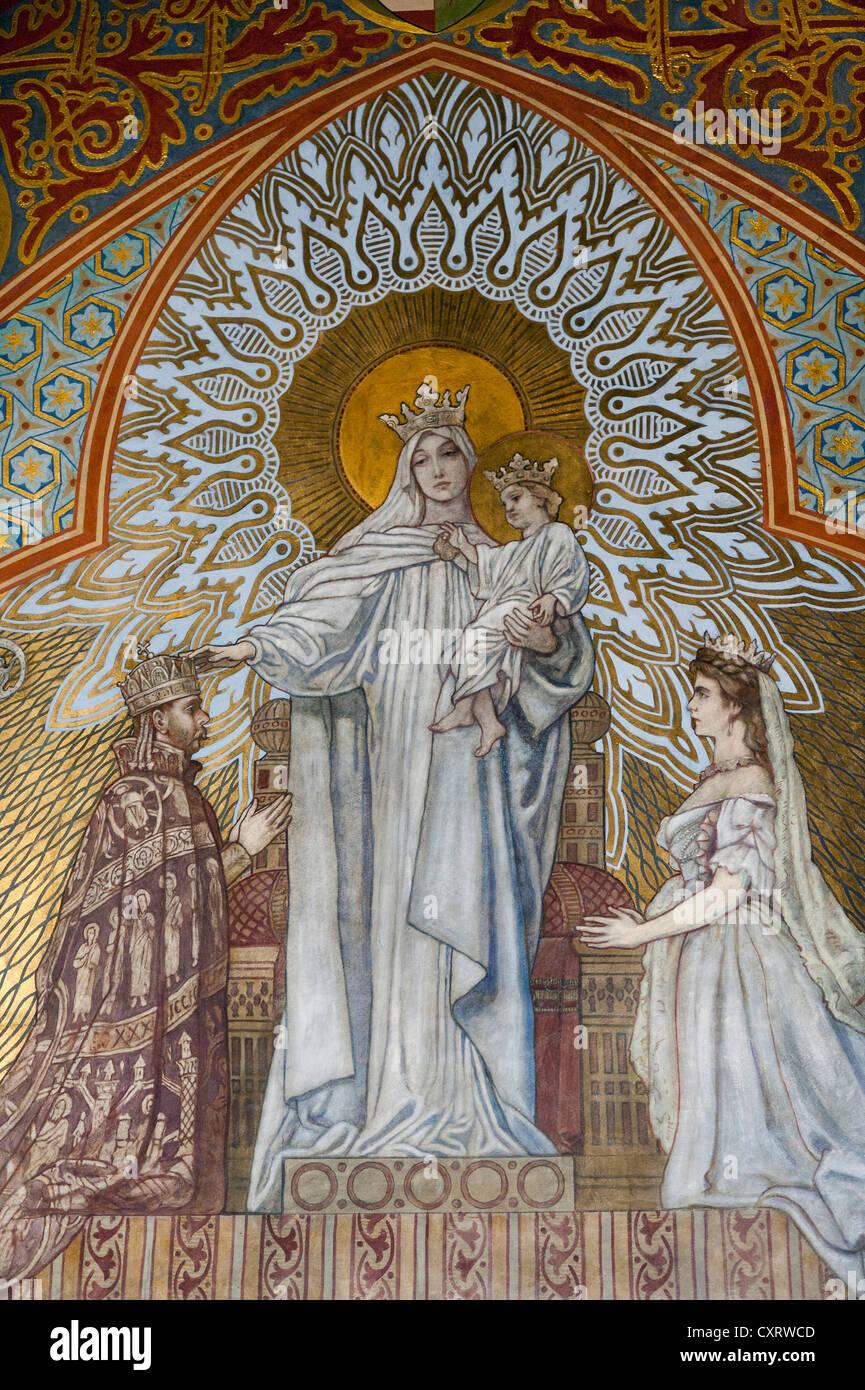 Fresco of the coronation, Matthias Church, castle hill, Budapest, Hungary, Europe Stock Photo