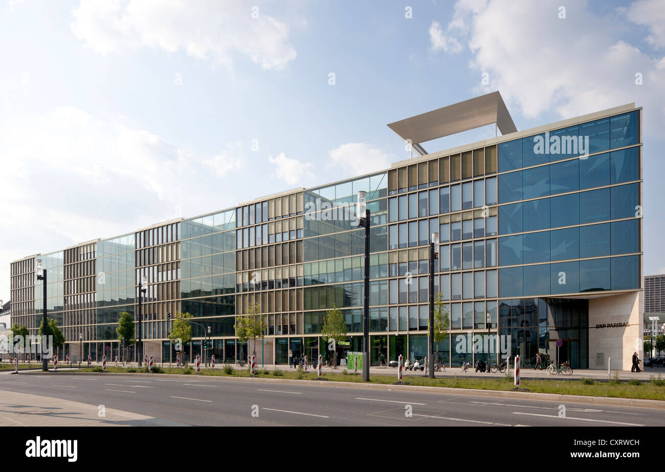 Office building on Europa-Allee, Europaviertel district, Frankfurt am Main, Hesse, Germany, Europe, PublicGround - Stock Image