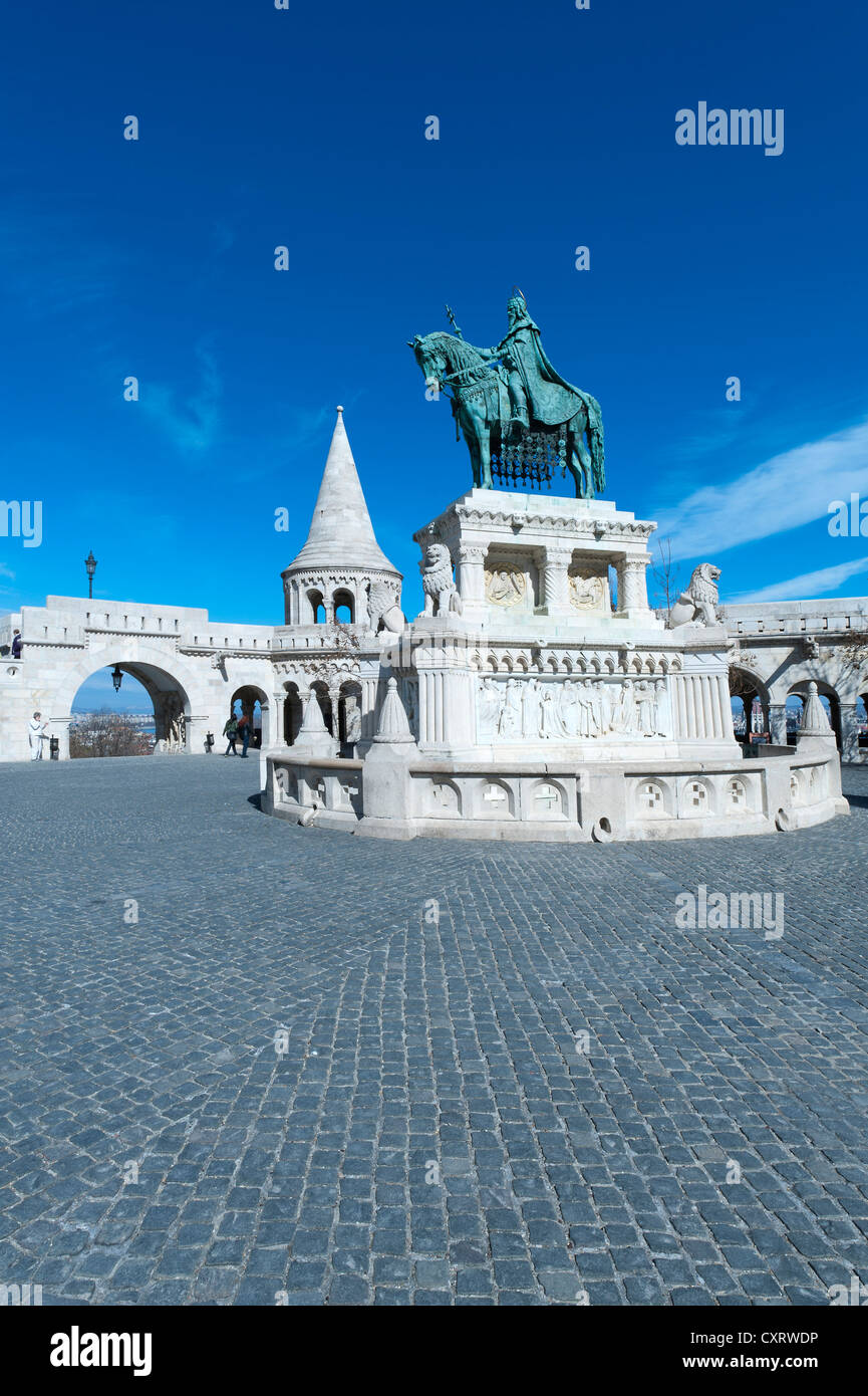 Equestrian statue, monument to King Stephen I, Halászbástya, Fisherman's Bastion, castle hill, Budapest, - Stock Image