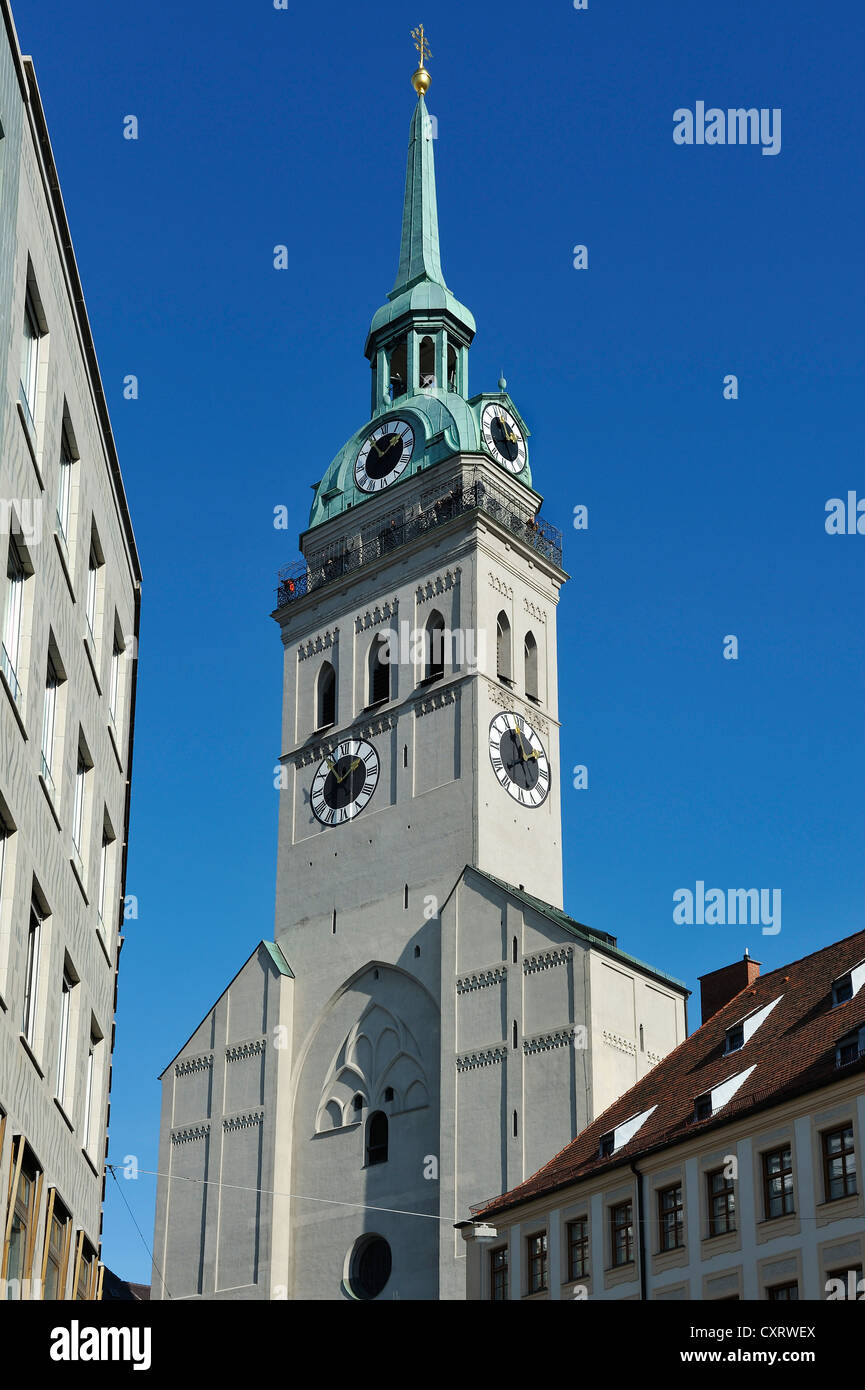Parish church of St. Peter, Alter Peter tower, Munich, Bavaria - Stock Image
