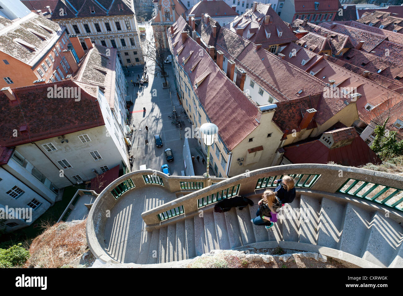Kriegssteig or Russensteig stairs, stairs leading down from Grazer Schlossberg hill towards the historic district, - Stock Image