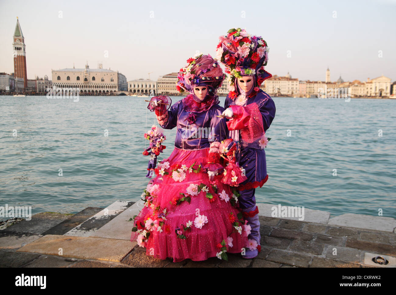 Mask wearers, Carnival in Venice, Italy, Europe Stock Photo