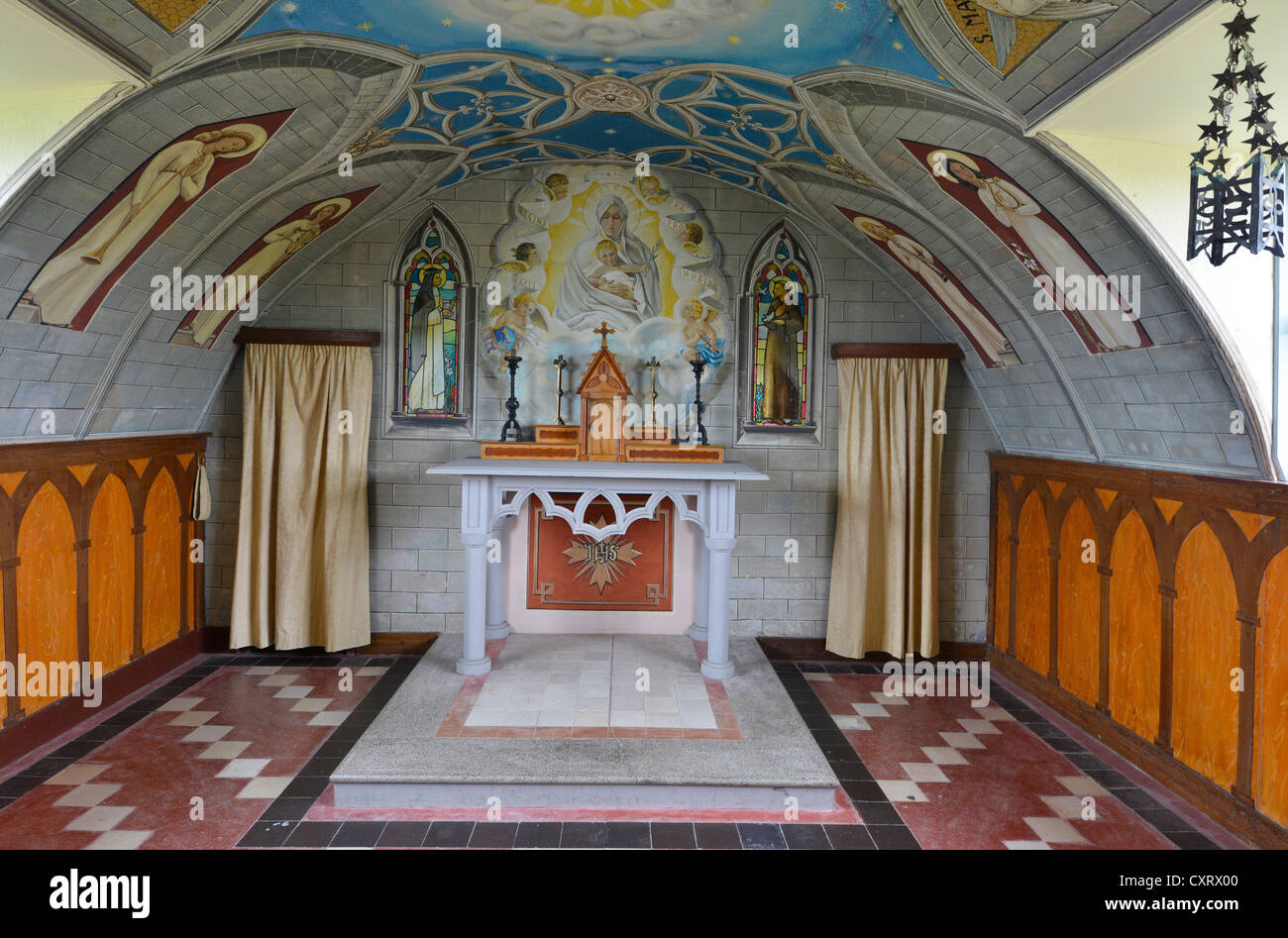 Chancel, erected by Italien prisoners of war during the Second World War, Italian Chapel, Orkney Islands, Scotland - Stock Image