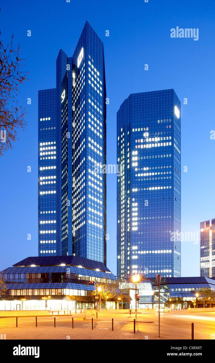 Deutsche Bank Twin Towers, nicknamed debit and credit, Frankfurt am Main, Hesse, Germany, Europe, PublicGround - Stock Image