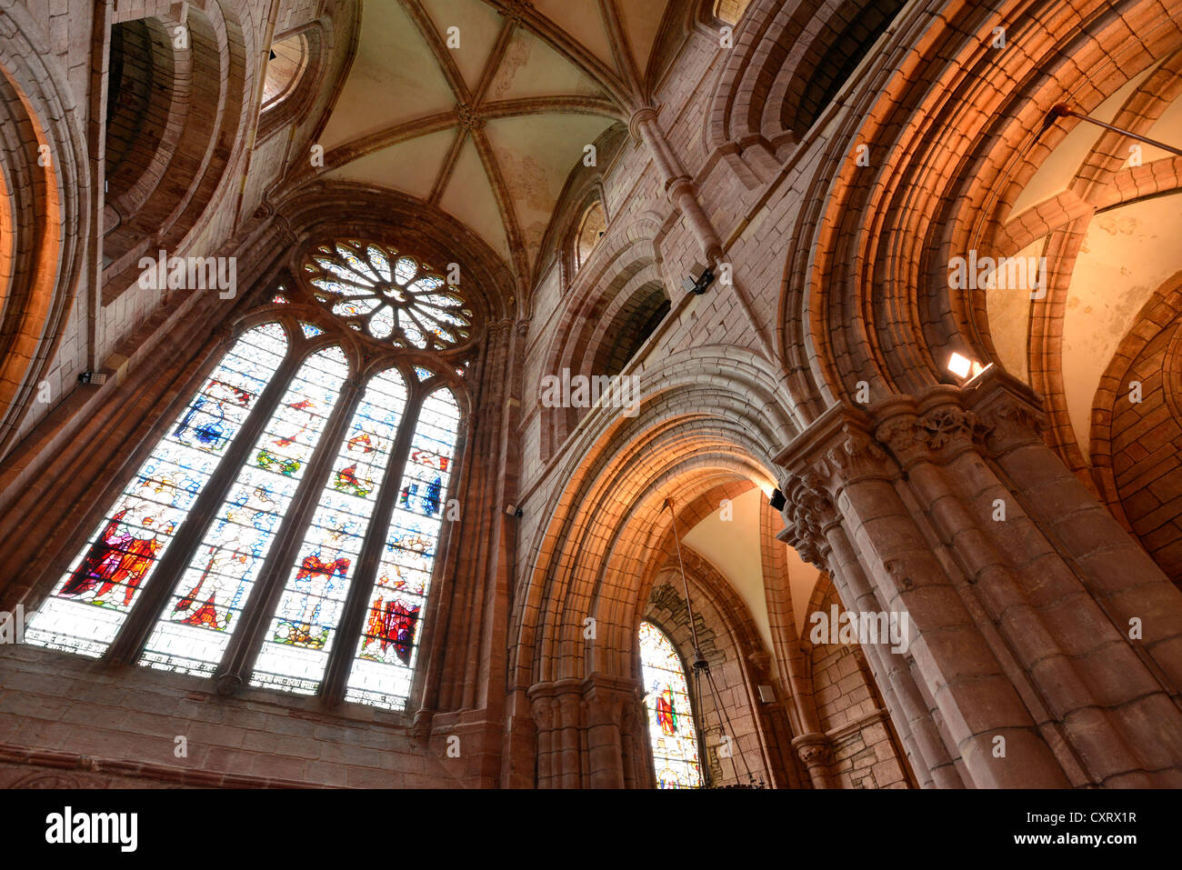 Interior view, large window with a glass mosaic, church window, and ceiling of St. Magnus Cathedral, Orkney Islands, - Stock Image