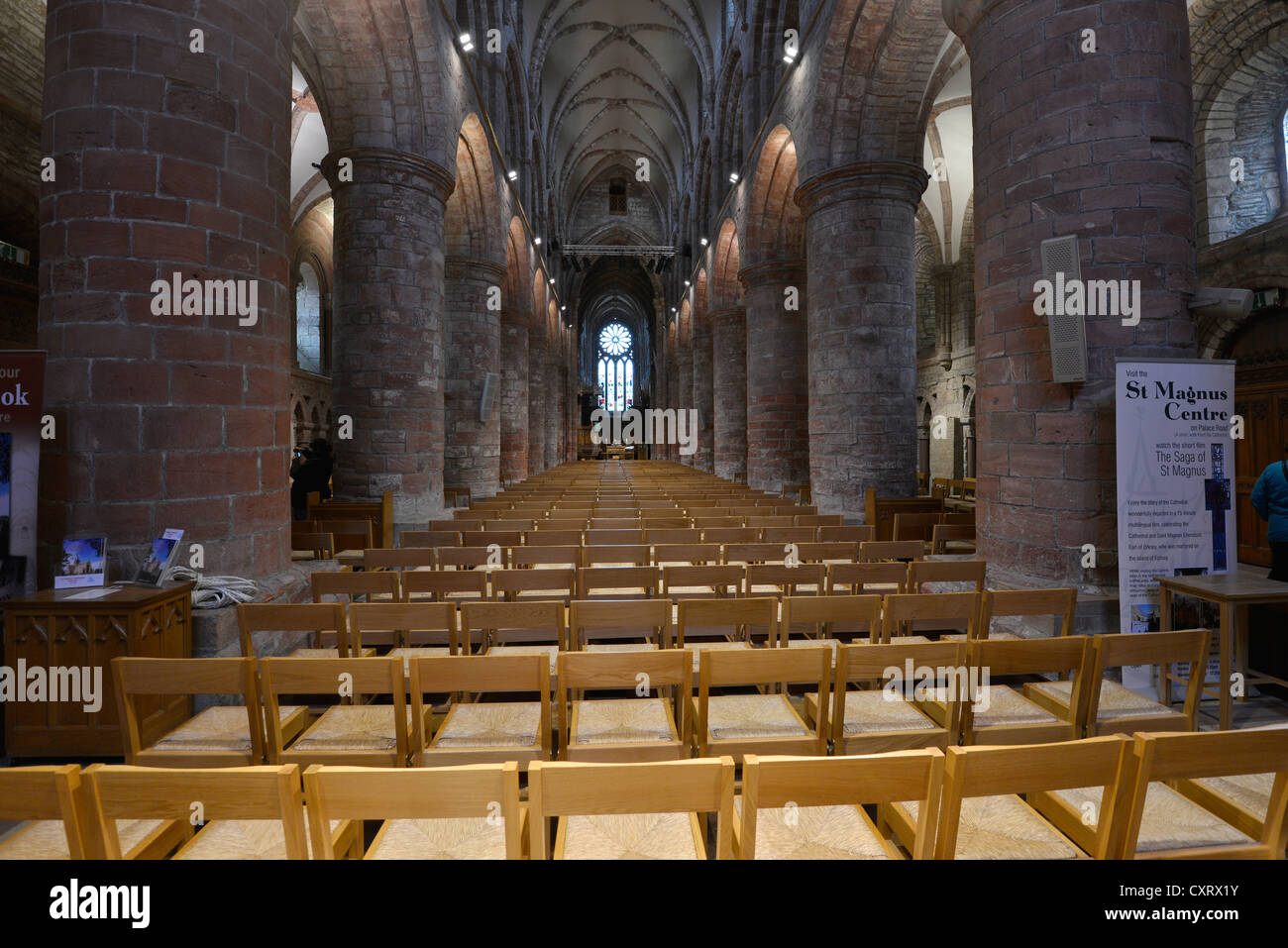 Interior view, St Magnus Cathedral, Orkney Islands, Kirkwall, Scotland, United Kingdom, Europe - Stock Image