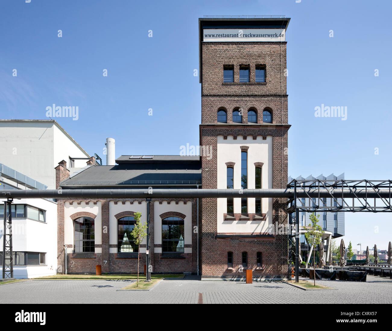 Former Druckwasserwerk or Pressure Water Works in Westhafen, now a restaurant, Frankfurt am Main, Hesse, PublicGround - Stock Image