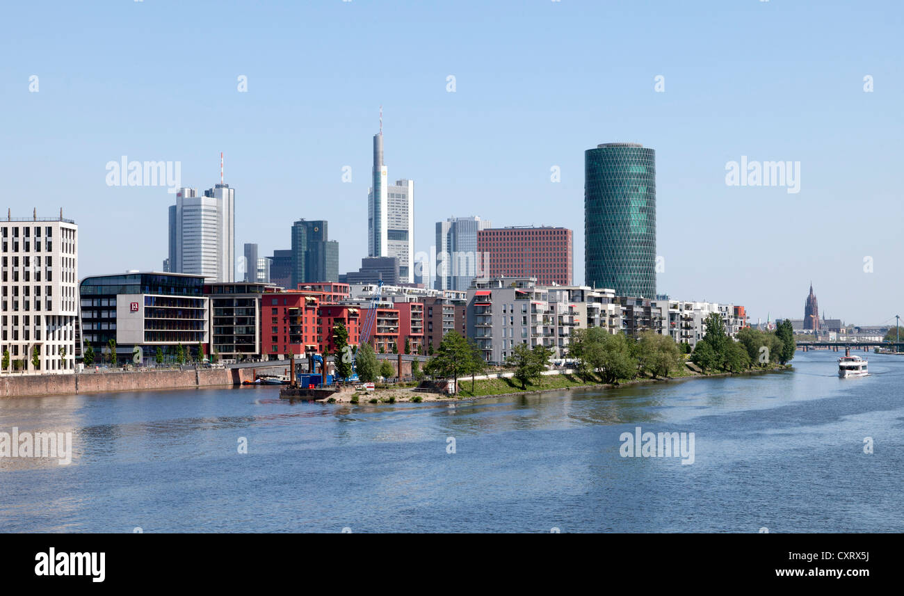 Office and residential buildings, Westhafen district, skyline, Frankfurt am Main, Hesse, Germany, Europe, PublicGround - Stock Image