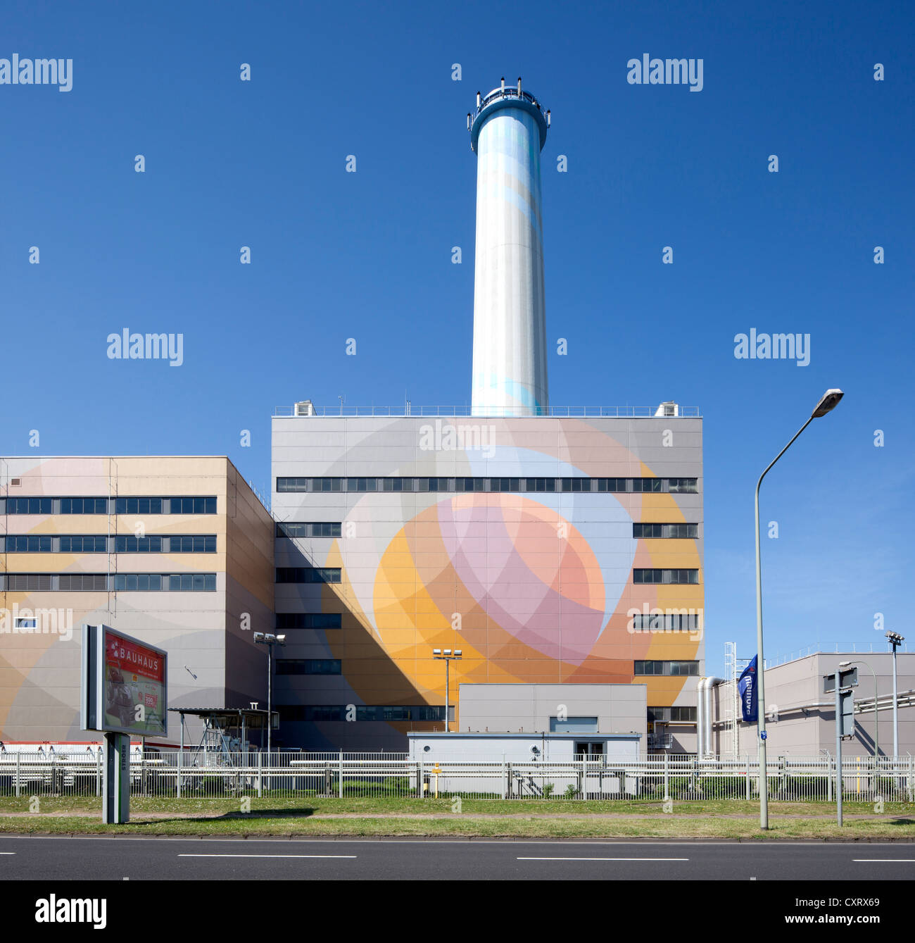 Niederrad combined heat and power station, Frankfurt am Main, Hesse, Germany, Europe, PublicGround - Stock Image