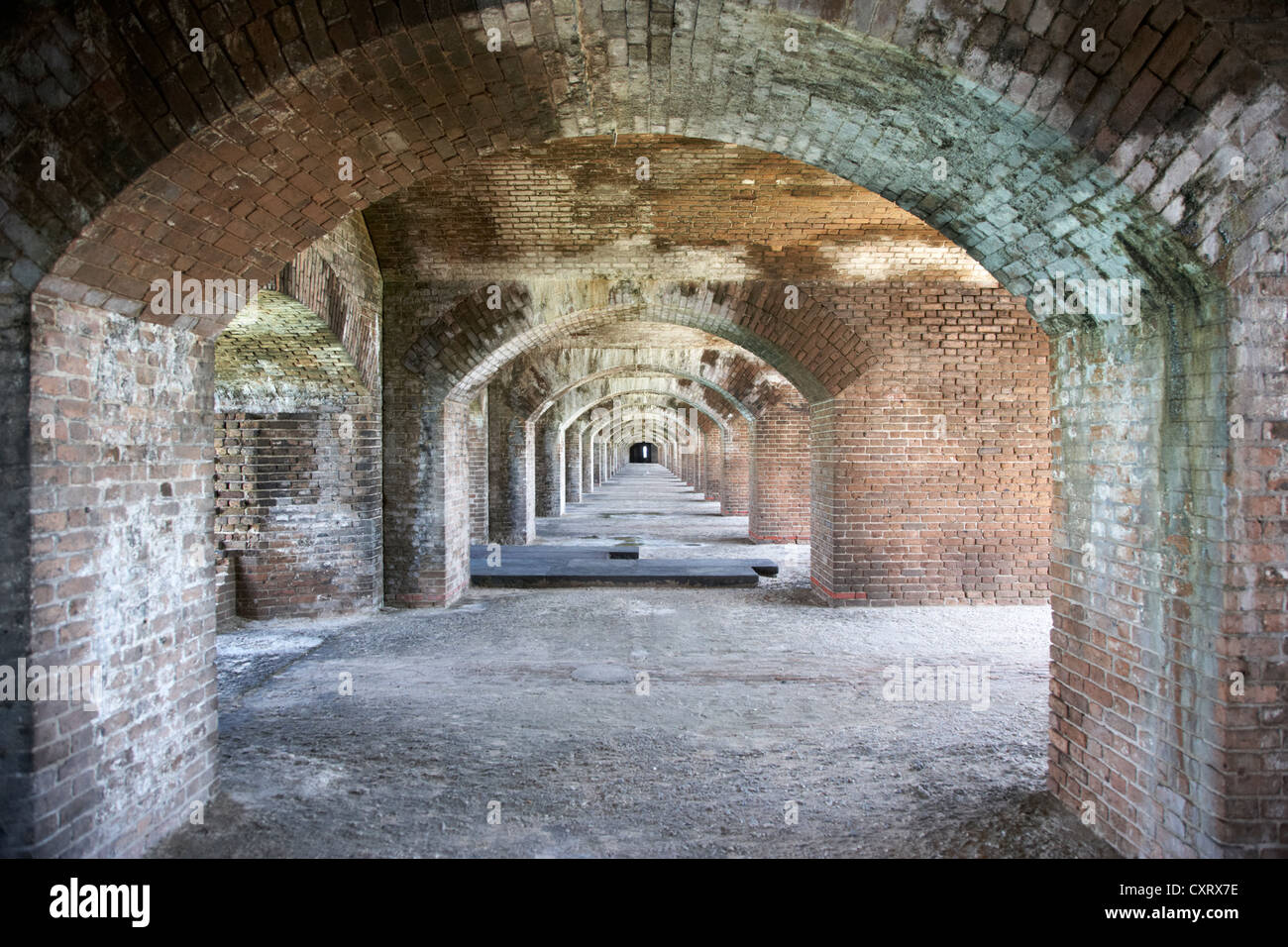 upper floor brick archway corridors in fort jefferson dry tortugas national park florida keys usa - Stock Image