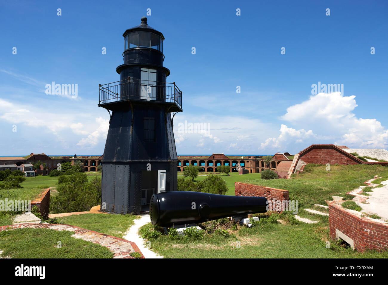 garden key lighthouse terreplein and rodman cannon on fort