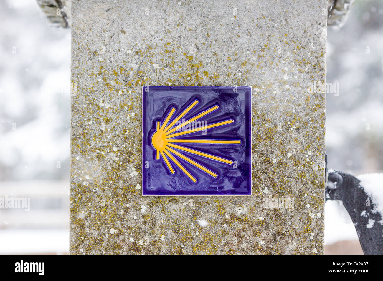 Symbol marking the pilgrimage route of the Way of St. James in the snow, Einsiedeln, Switzerland, Europe - Stock Image