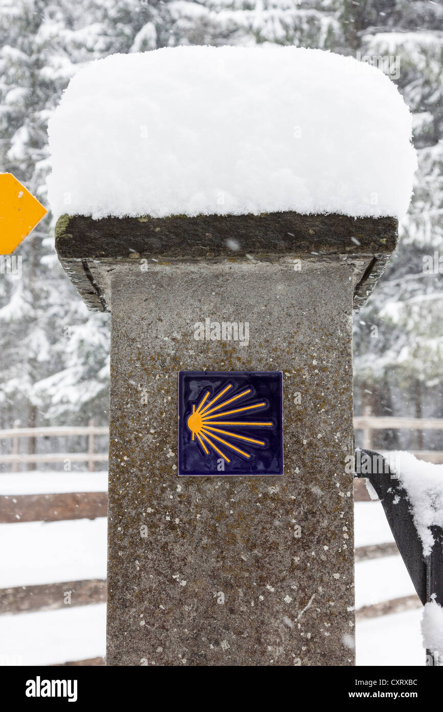 Snow-covered sign for the Way of St. James, pilgrimage path, way of the cross, Einsiedeln, Switzerland, Europe Stock Photo