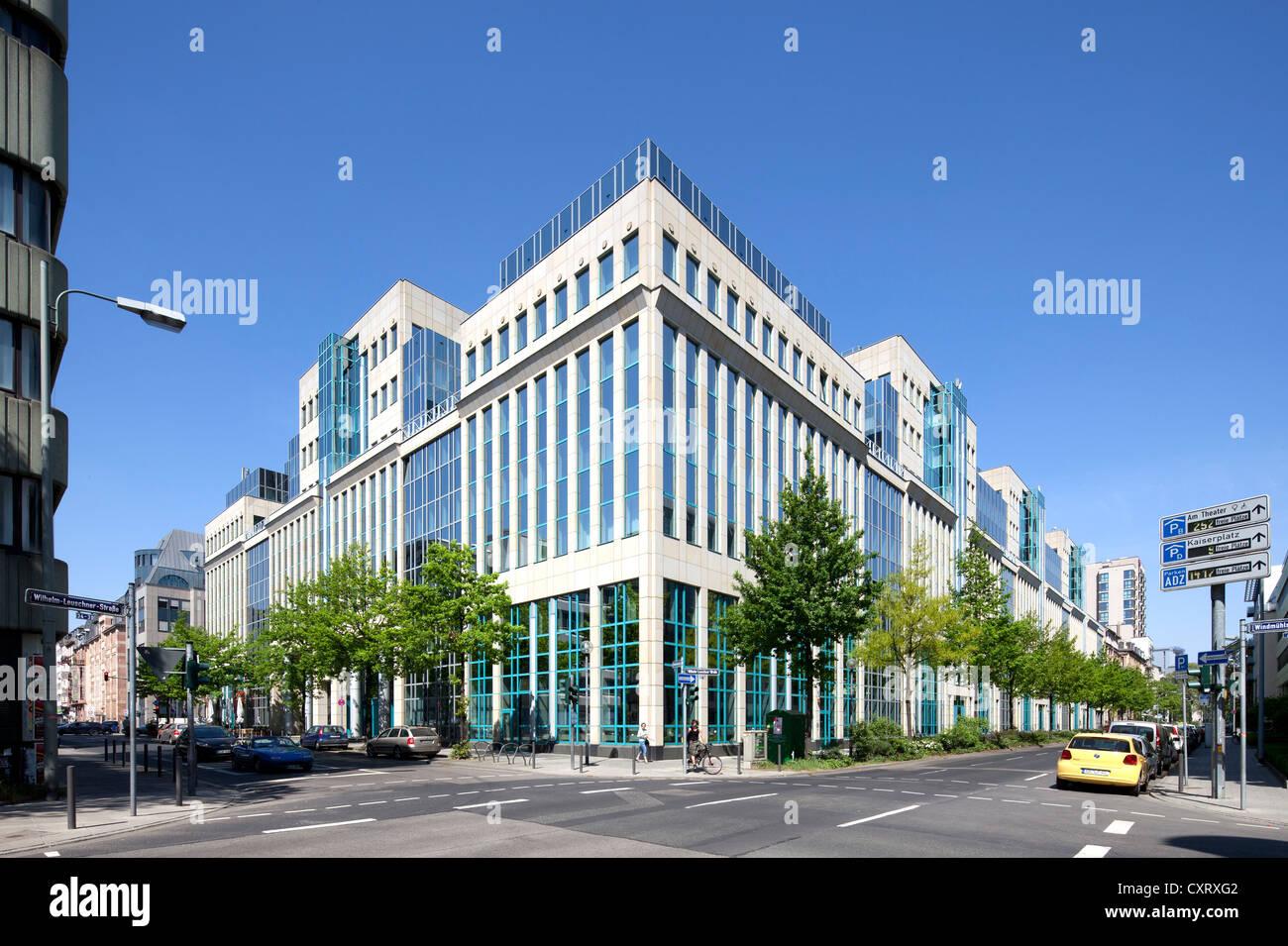 Office buildings on Wilhelm-Leuschner-Strasse, Frankfurt am Main, Hesse, Germany, Europe, PublicGround - Stock Image