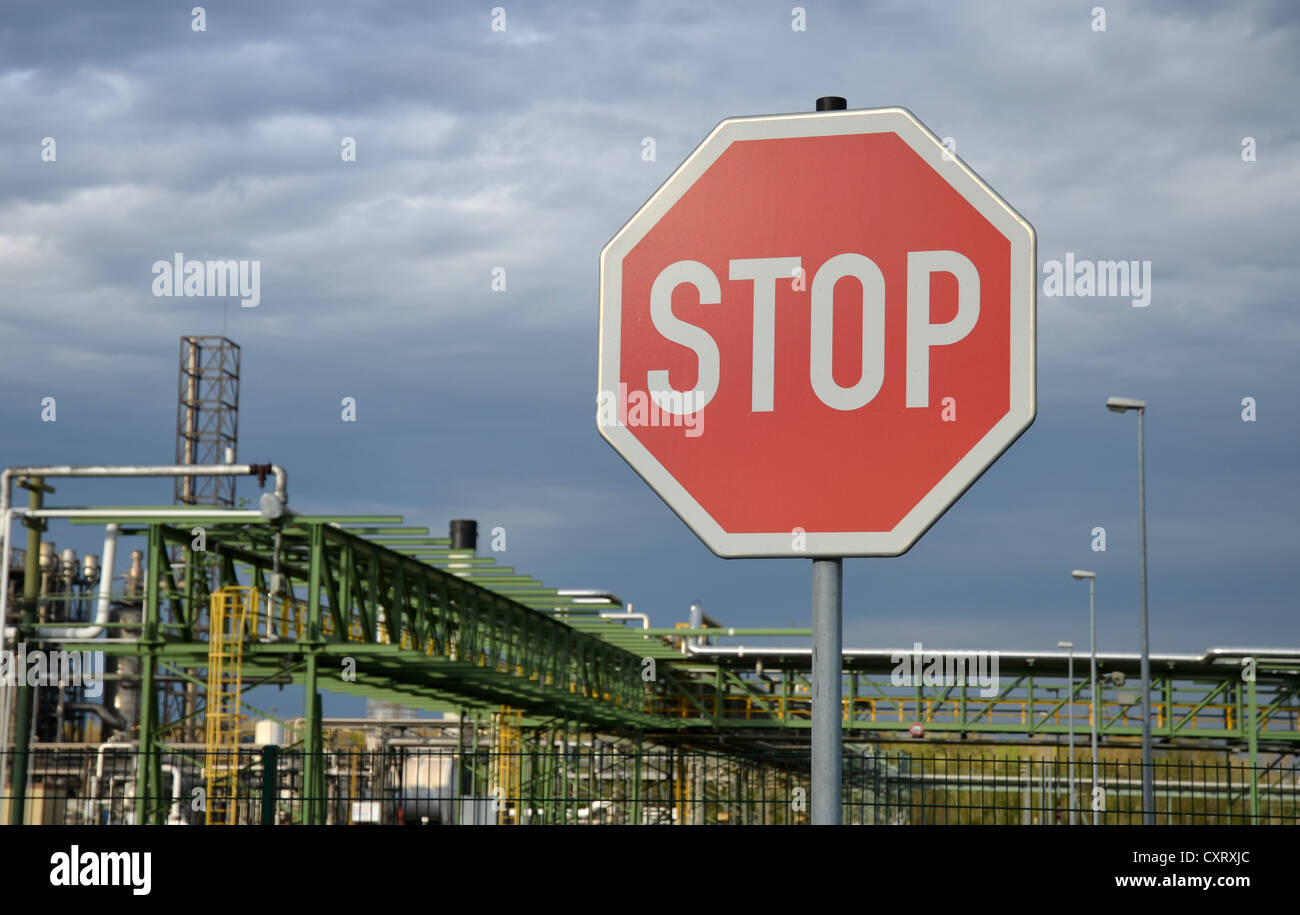 Stop sign at the Boehlen chemical works, Saxony, Germany, Europe - Stock Image