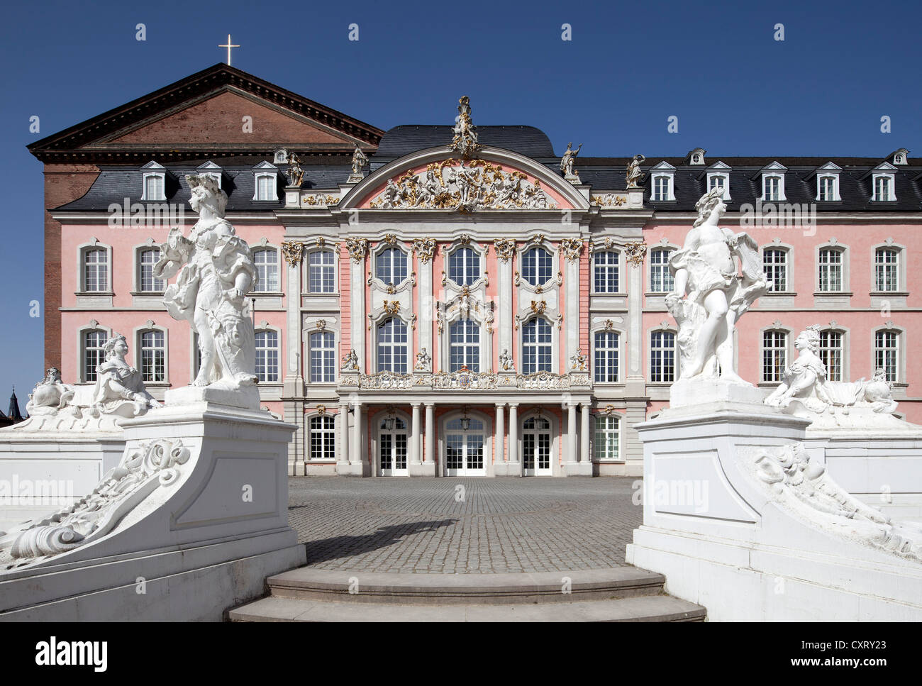 Electoral Palace, public office building, Trier, Rhineland-Palatinate, Germany, Europe, PublicGround Stock Photo