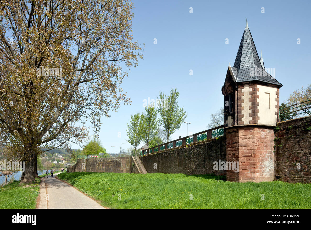 City walls and level building, the Moselle promenade, Trier, Rhineland-Palatinate, Germany, Europe, PublicGround - Stock Image