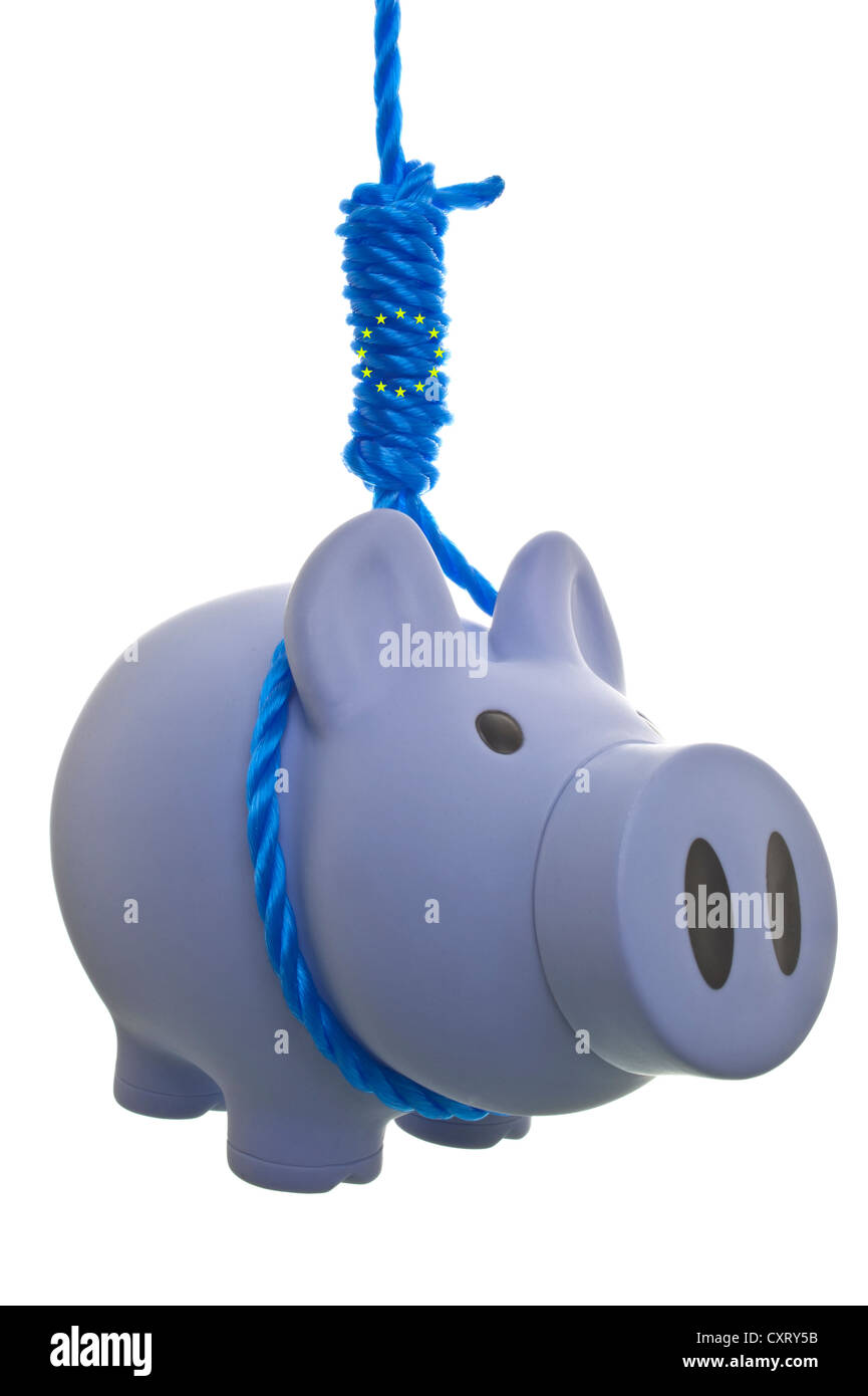 Piggy bank with a noose and EU stars, symbolic image for austerity diktat from Brussels - Stock Image