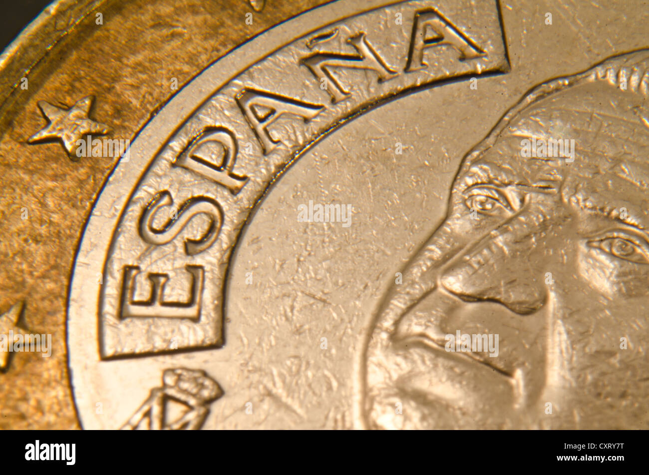 Spanish euro coin, extreme close-up - Stock Image