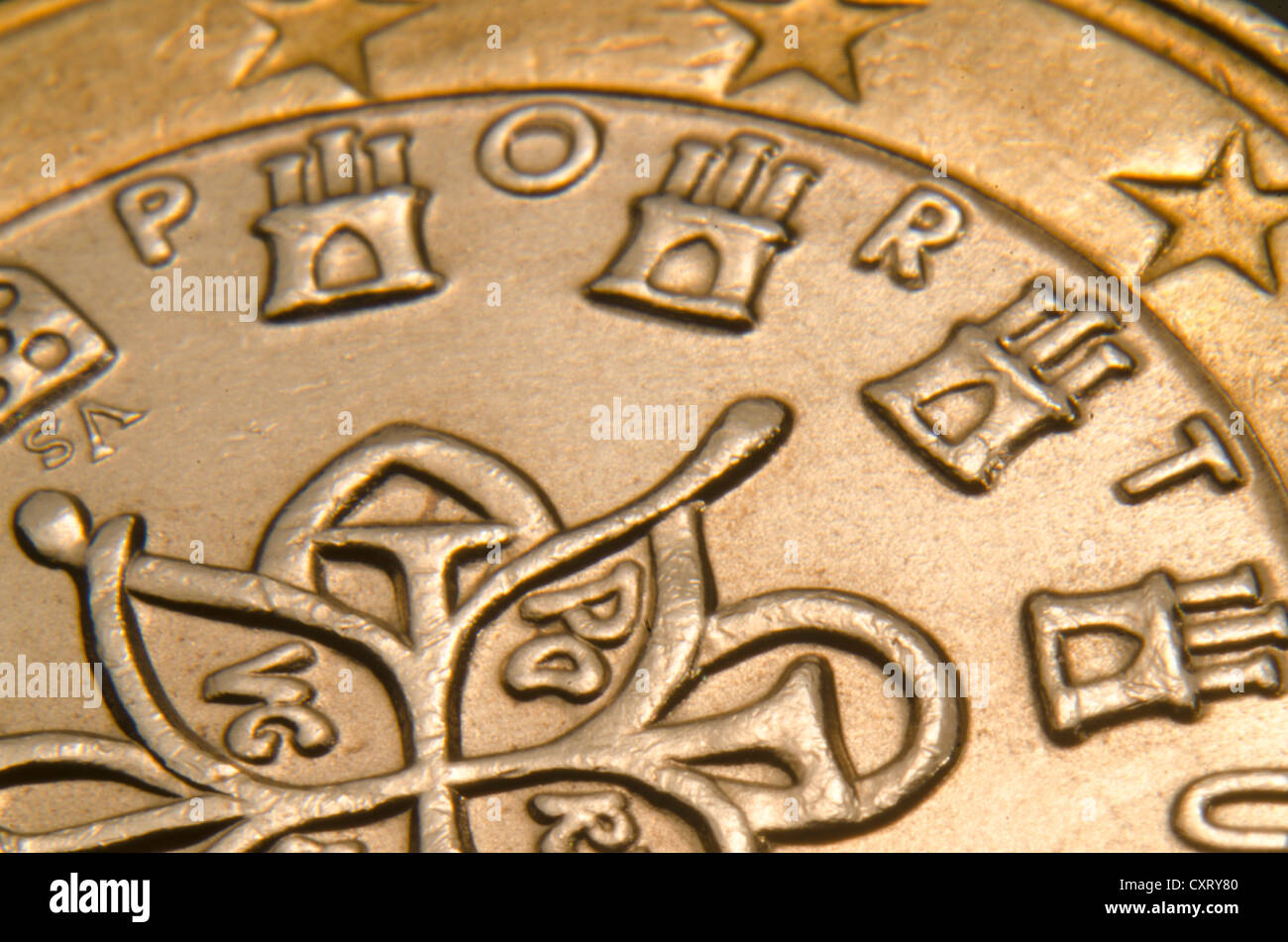 Portuguese euro coin, extreme close-up - Stock Image