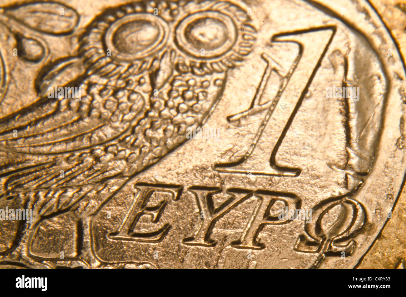 Greek euro coin, extreme close-up - Stock Image