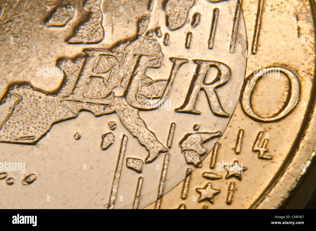 Euro coin, extreme close-up - Stock Image