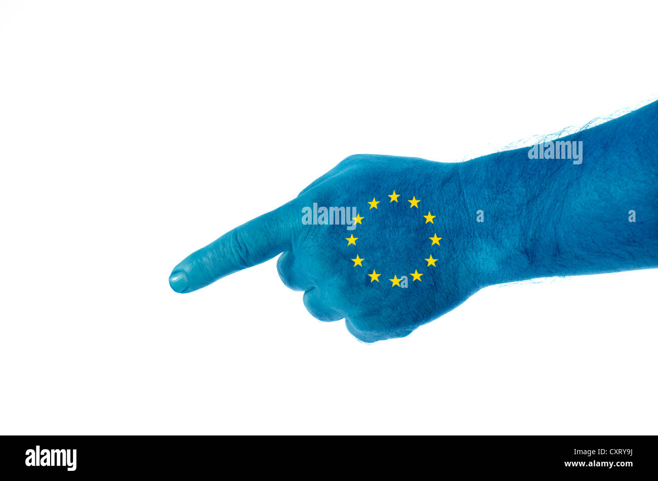 Hand with European stars pointing the finger, symbolic image Stock Photo