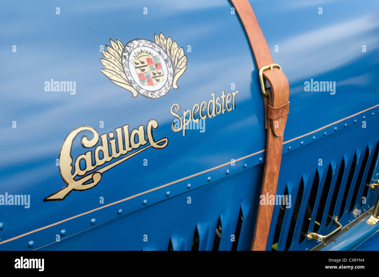 Hand-painted logo and lettering of the U.S.-American car maker Cadillac, festival of classic cars 'Retro Classics - Stock Image