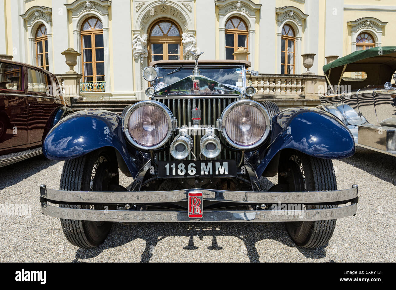 Front view of a Rolls-Royce classic car, Classics meets Barock classic car meeting, Ludwigsburg Palace, administrative - Stock Image
