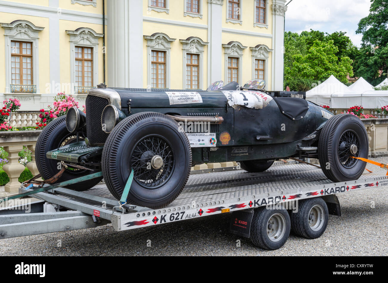 Historic racing car, Bentley 4 , built in 1940, on a trailer Stock ...