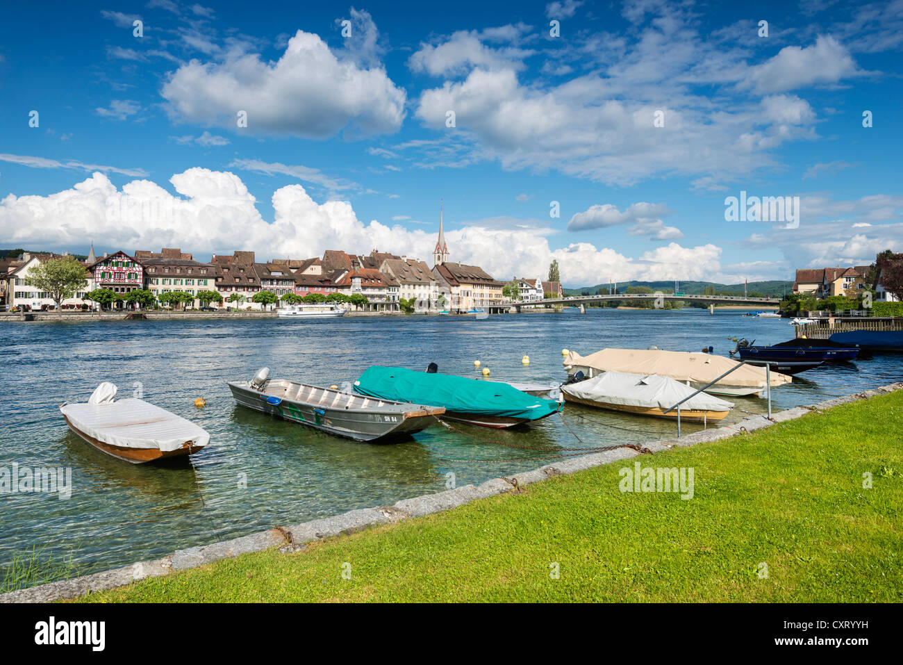 View across the Rhine to the old town of Stein am Rhein with moored boats, Canton Schaffhausen, Switzerland, Europe - Stock Image
