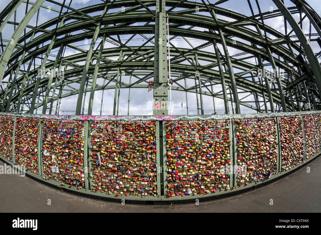 Padlocks, love locks, on a security fence separating the footpath from the railway tracks at the Hohenzollern Bridge, - Stock Image