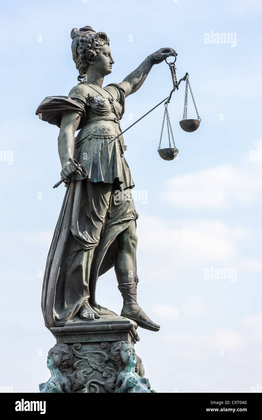 Lady Justice holding scales, Justitia Brunnen, fountain of justice, Roemer square, Frankfurt am Main, Hesse, PublicGround - Stock Image